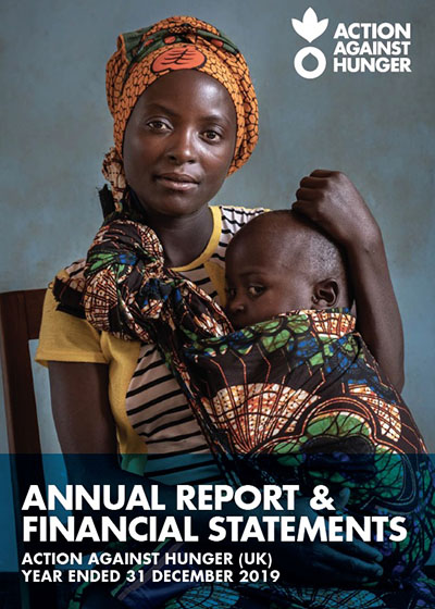 The front cover of Action Against Hunger's UK Annual Report and Financial Statements 2019.