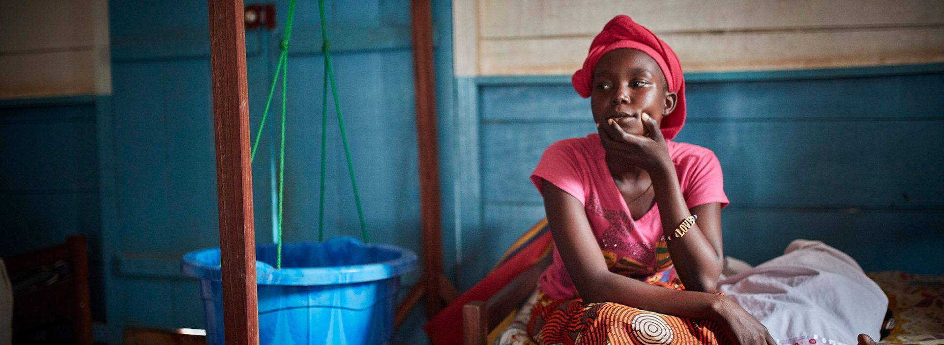 A girl at an Action Against Hunger treatment centre in Central African Republic.