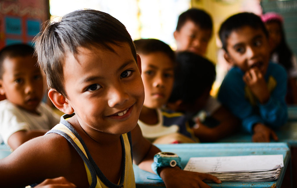 Children in a school in the province of Maguindanao, Philippines