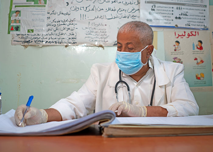 Abdullah is a contracted doctor working at an Action Against Hunger health clinic in Abyan province, Yemen