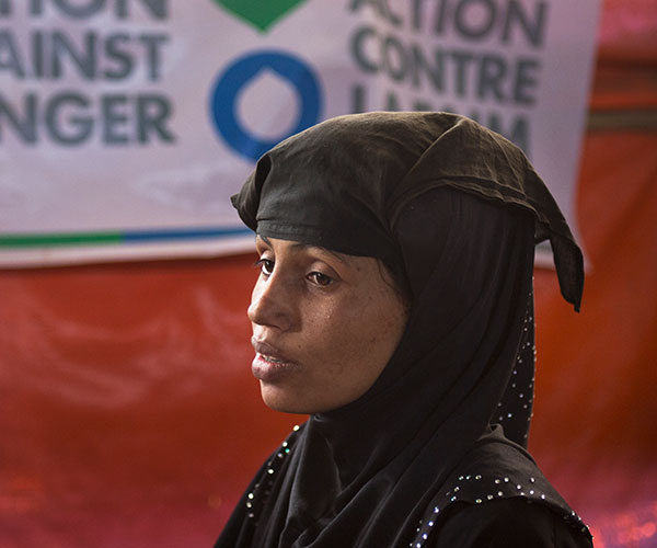 Humaira, a woman supported by Action Against Hunger at a treatment centre in Bangladesh,
