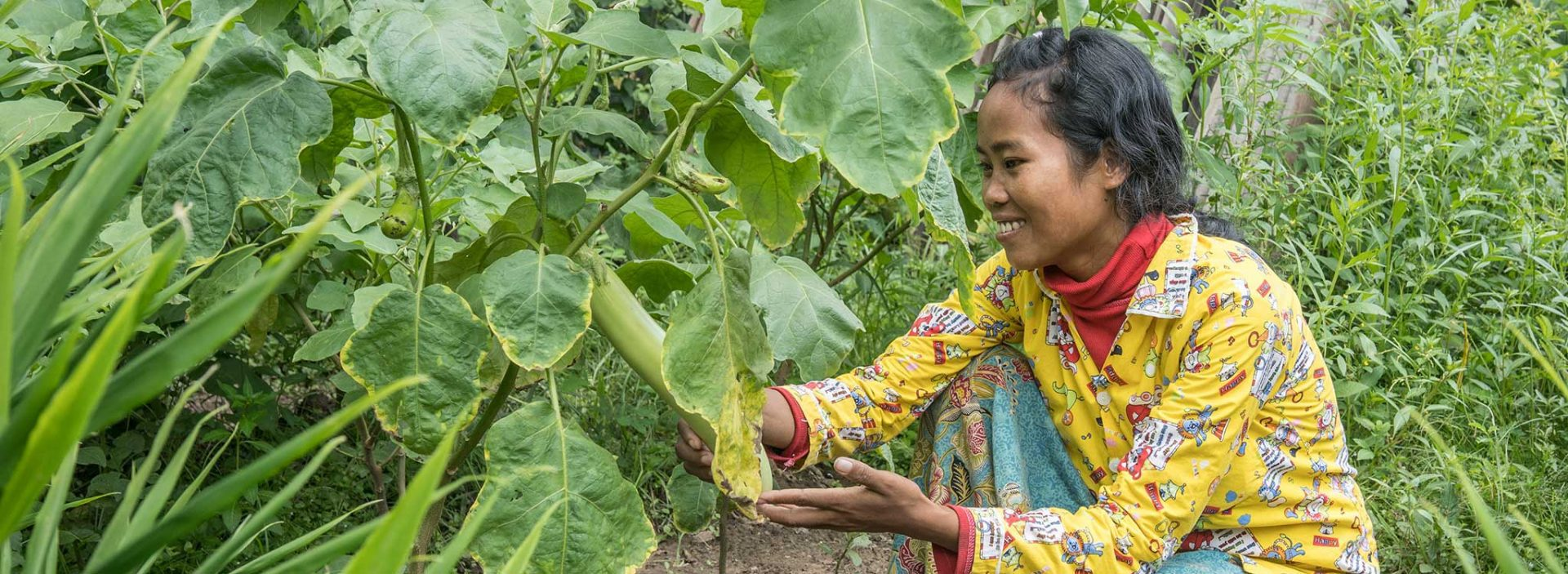 A woman tends to her crops at an Action Against Hunger project in Cambodia.