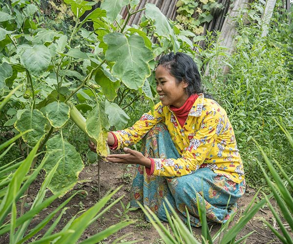 A woman tends to her crops in Cambodia.