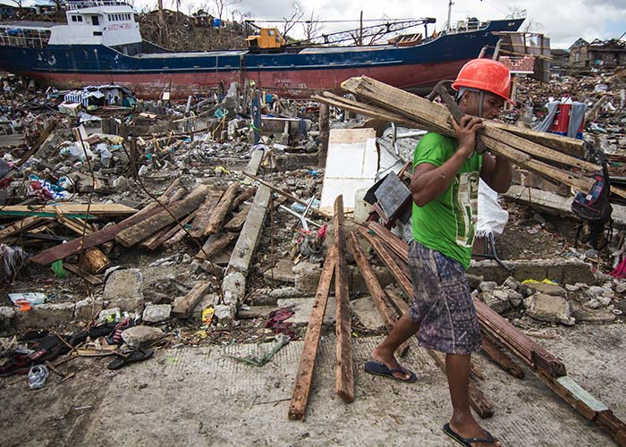 The aftermath of a typhoon in The Philippines.