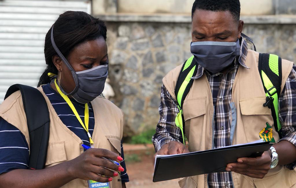 Action Against Hunger teams carrying out contact tracing in Cameroon.