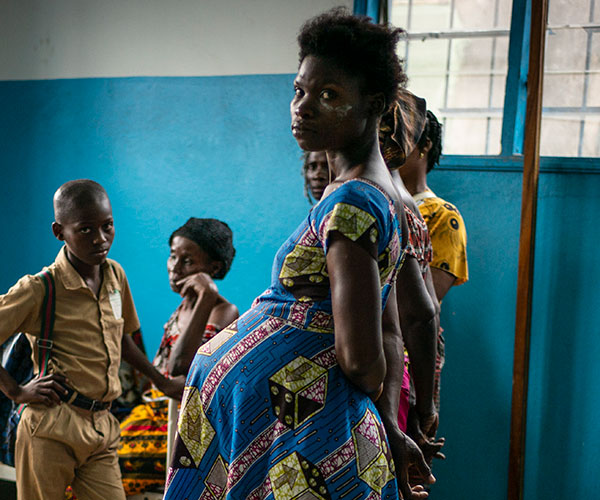 A pregnant woman at an Action Against Hunger treatment centre in Cote d'Ivoire.