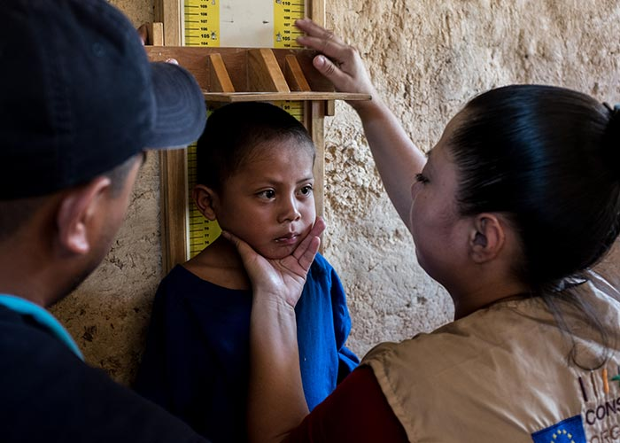 A child is screened for malnutrition at an Action Against Hunger treatment centre in Guatemala.