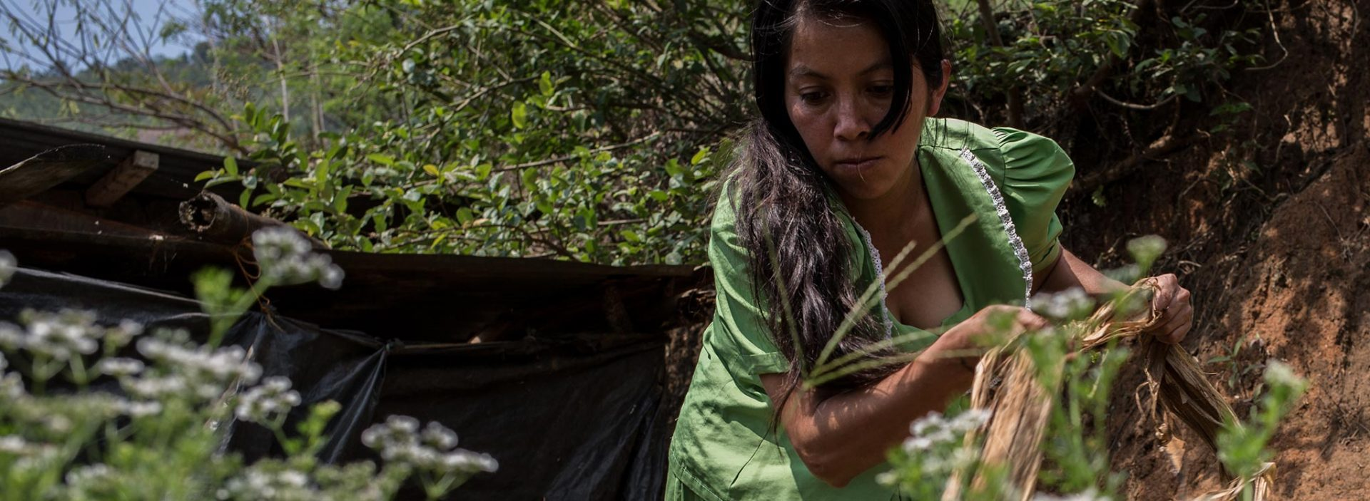 A woman works in a field at an Action Against Hunger project in Guatemala.