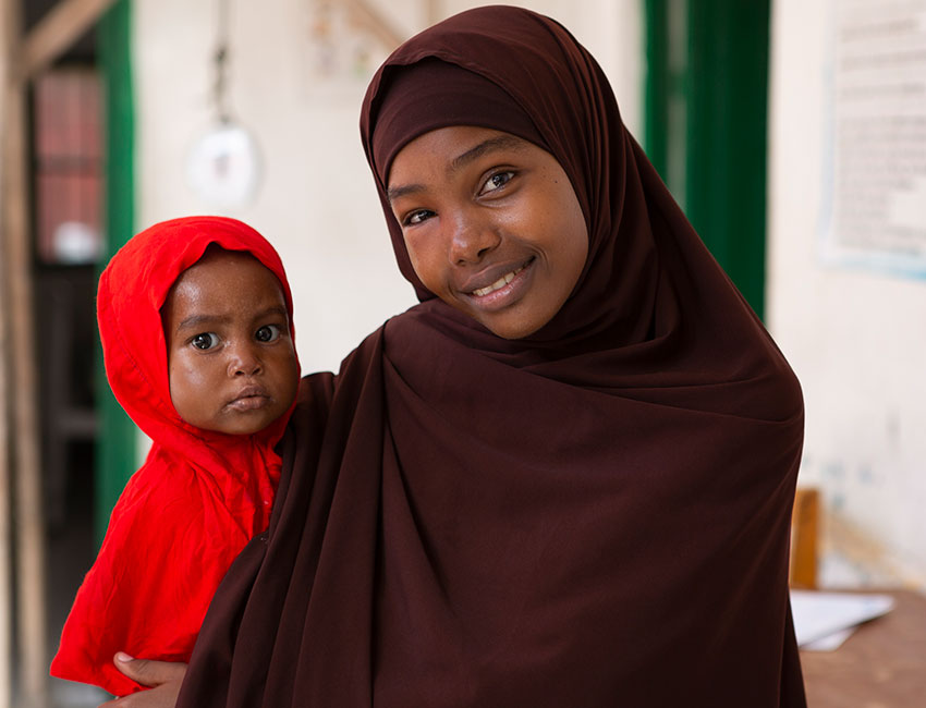 Fatuma with her daughter Fatuma at an Action Against Hunger treatment centre in Somalia.
