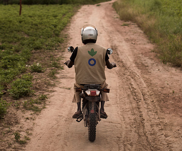 Ibrahim, an Action Against Hunger community health worker in Mali, on his motorbike.