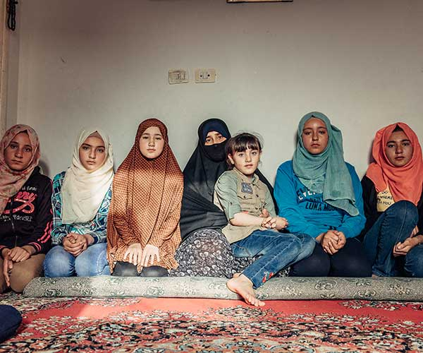 A group of Syrian refugee children in Jordan.