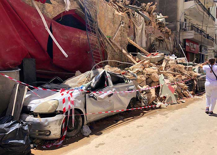 The aftermath of the explosion in the Port of Beirut.