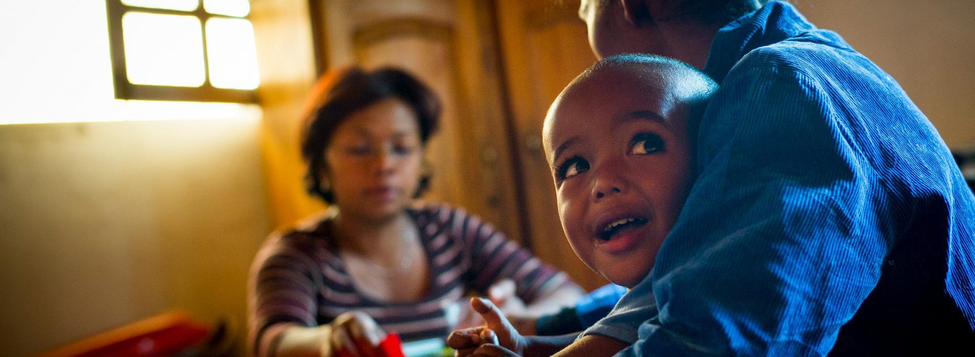 A children receives treatment for malnutrition at an Action Against Hunger health centre in Madagascar.