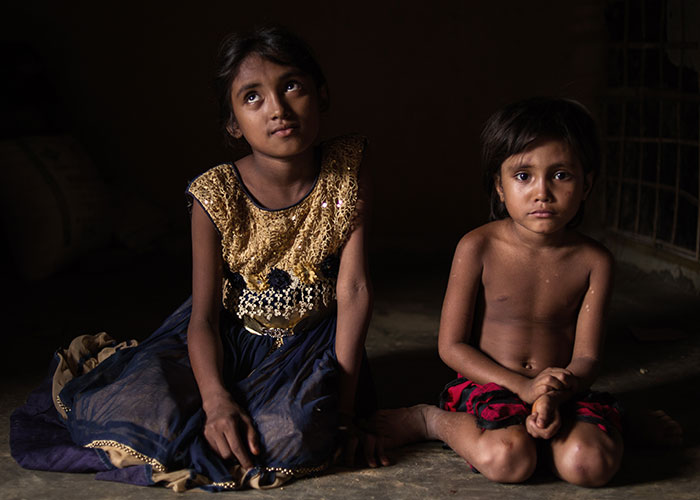 Rohingya refugee children who have received support from Action Against Hunger.