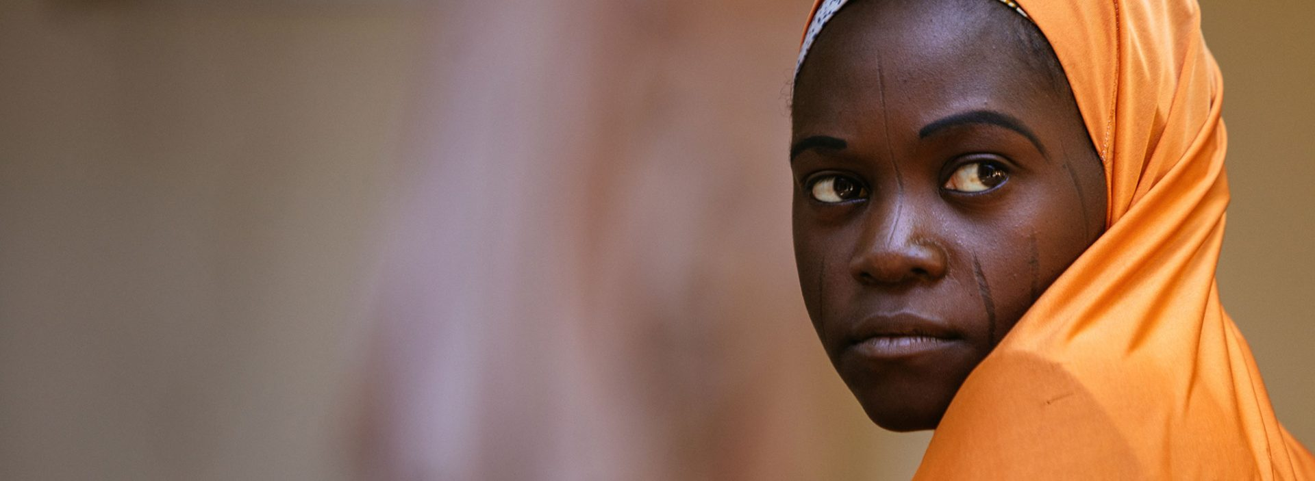 A girl in an Action Against Hunger health centre in Nigeria.