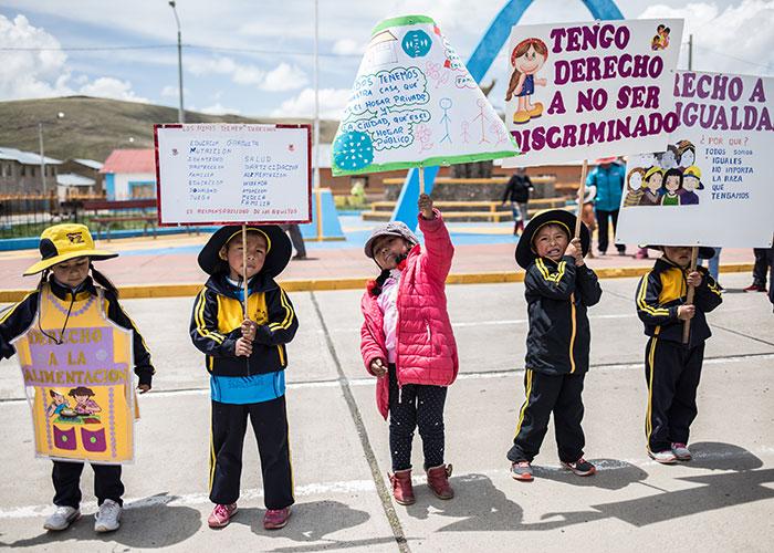 Children in Peru campaigning for change.
