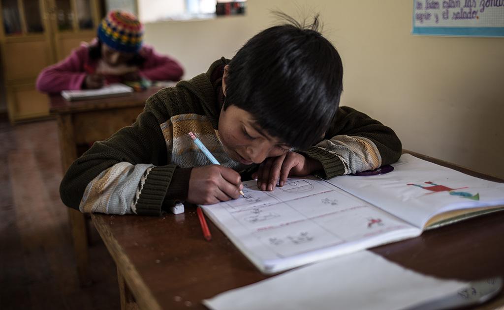 A child at a school in Puno, Peru.