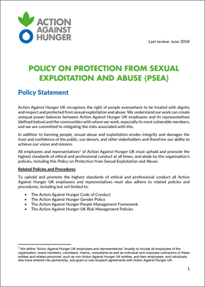Policy on protection from sexual abuse and exploitation
