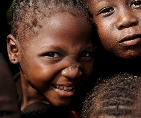 children smiling at camera in Cetral African Republic