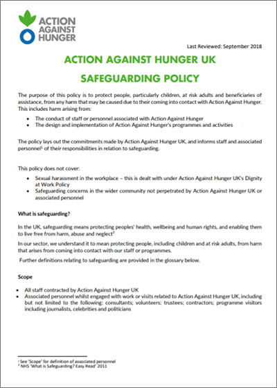 Action Against Hunger UK's safeguarding policy.