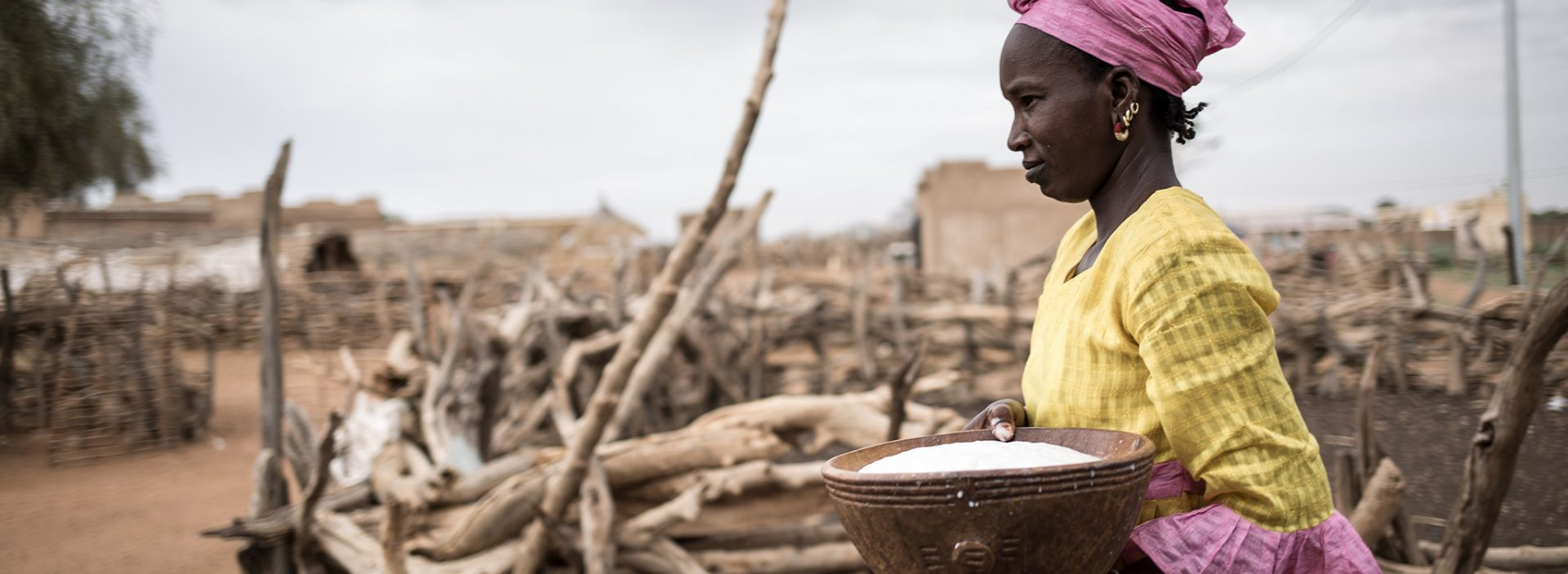 A woman carries a bowl of milk at an Action Against Hunger project in Senegal.