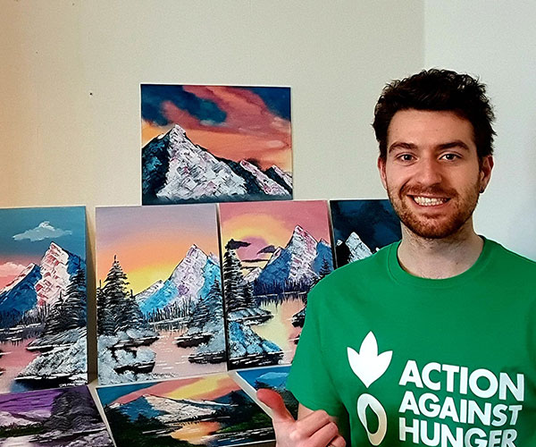 Action Against Hunger fundraiser with his paintings