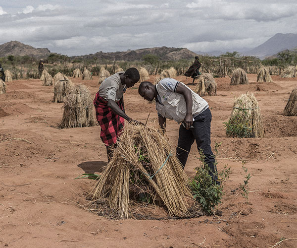 Action Against Hunger staff member helps to set up a water tree in Uganda.