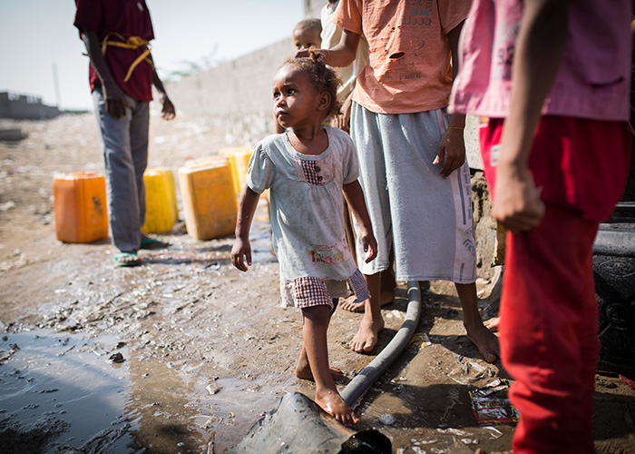 A girl supported by Action Against Hunger in Yemen.