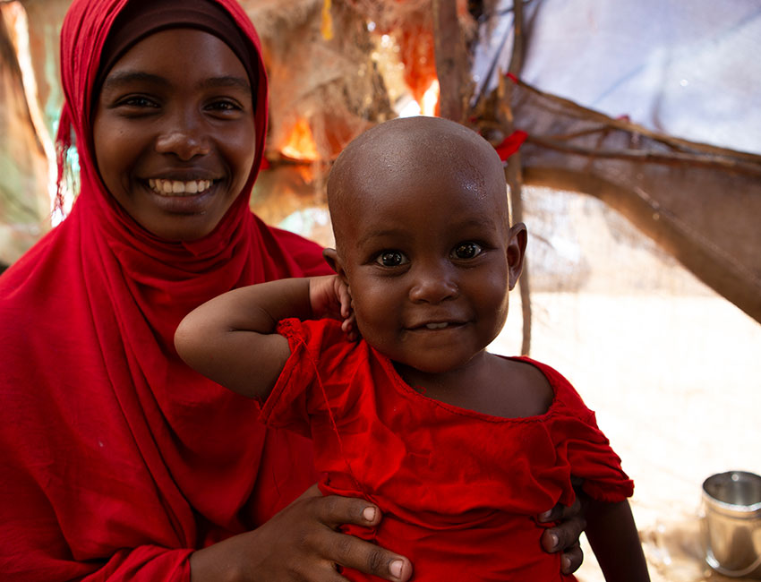 Halima and her mum Fatuma. Action Against Hunger helped Halima recover from malnutrition.