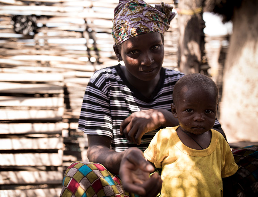 Simbo has been supported by Action Against Hunger health workers in Mali after he was diagnosed with life-threatening hunger