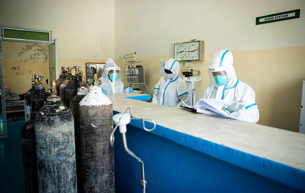 Staff at De Martini quarantine hospital in Mogadishu, Somalia.