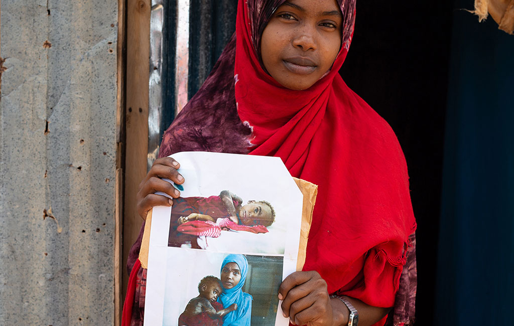 Fatuma shows before and after pictures of Halima that she presented at the traditional court.