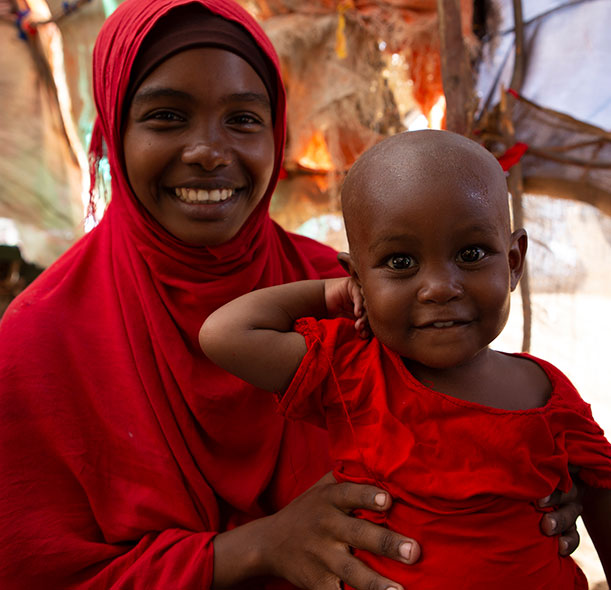 Halima and her mother Fatuma in Somalia. Halima recovered from life-threatening malnutrition thanks to the support of Action Against Hunger.