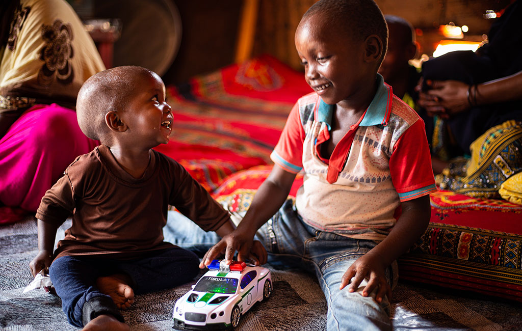Mohamed plays at home with his brother in Mogadishu, Somalia.