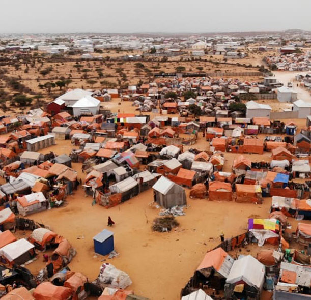A village in Somalia affected by Covid-19 restrictions.