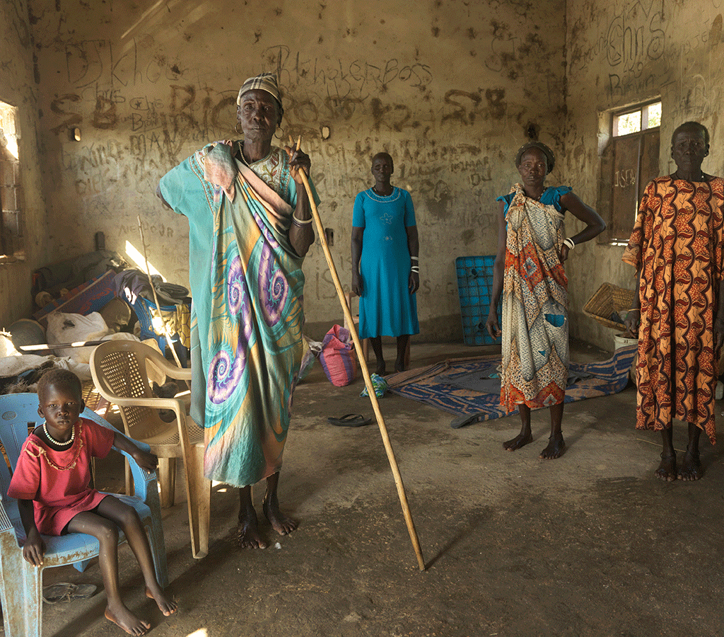 After they were forced to abandon their homes, women and children shelter at Wangchot Primary School in South Sudan