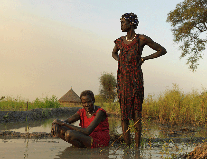 Nyakoang Mayieh, 70, and Nyayen Chuol, 60, from South Sudan after they tried in vain to remove the flood waters from their home. Their future now looks bleak.