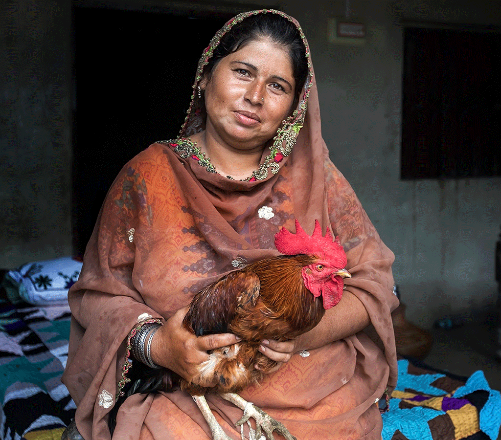 Rozina is a small scale entrepreneur in Pakistan and received a chicken from Action Against Hunger to support her and her family