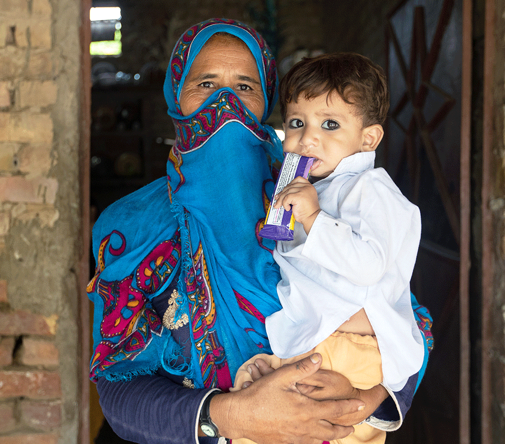 Noor Khatoon is the mother of 1 year old Taj Mohammad, who has been receiving treatment for malnourishment through Community Health Worker visits in Pakistan