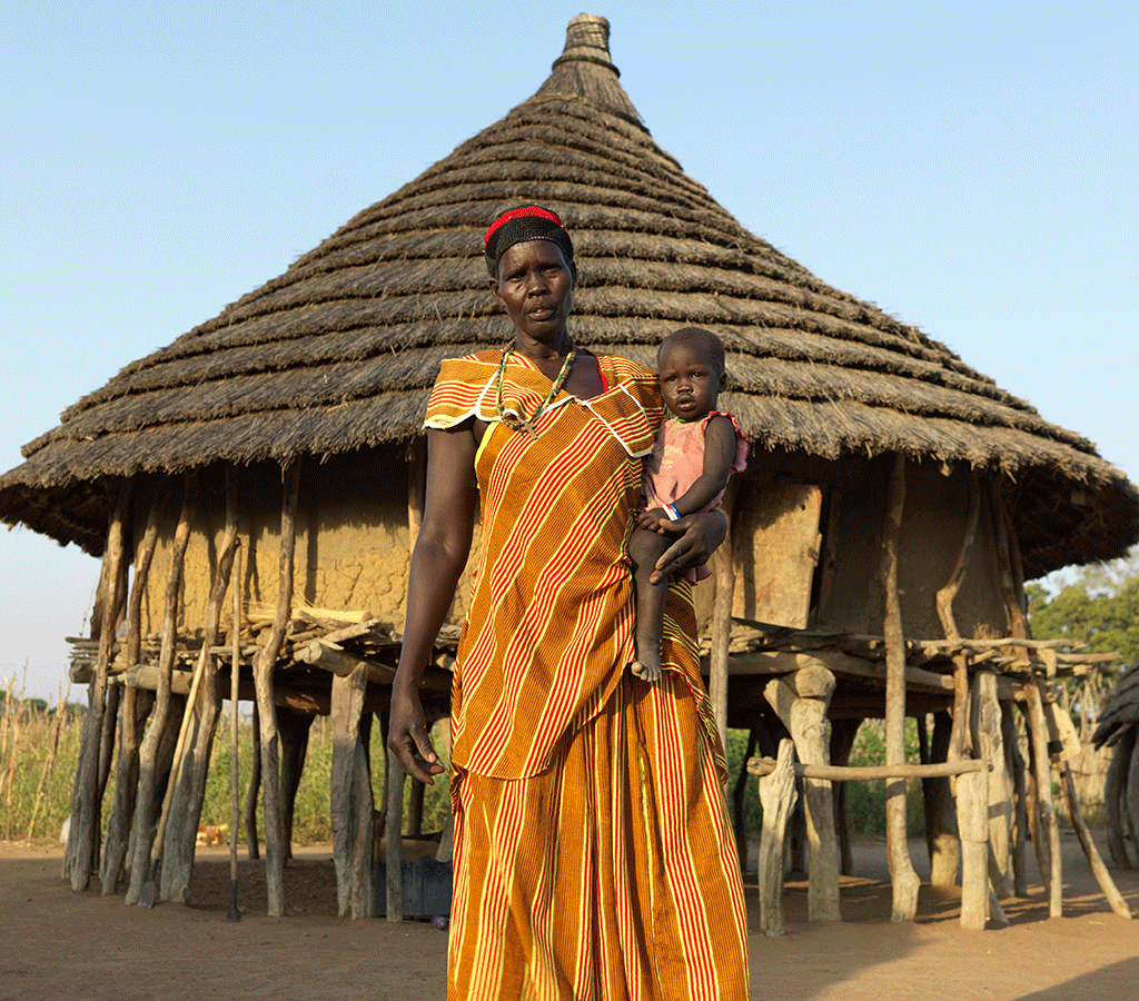 Portrait of Nyanut at home at Baackuel Village, Malualkon, South Sudan.