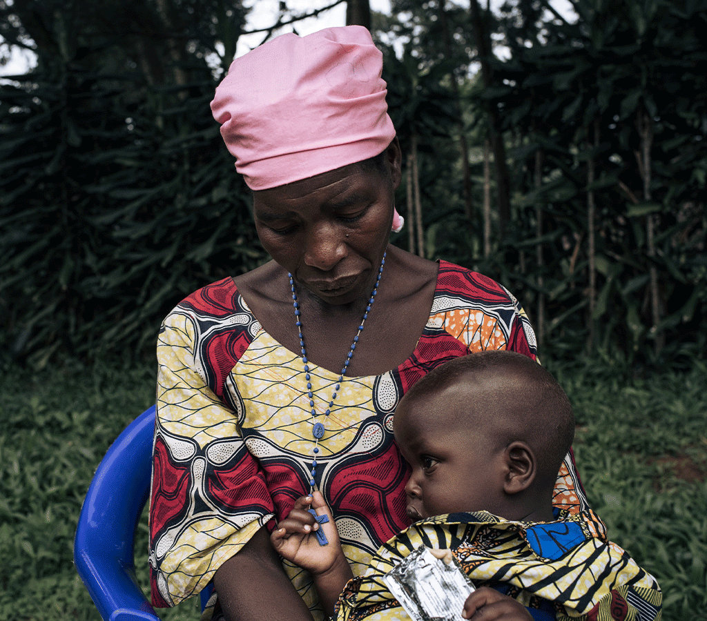 Georgine with her 27-month-old son, David who was treated at an Action Against Hunger-supported health centre for severe acute malnutrition in DRC