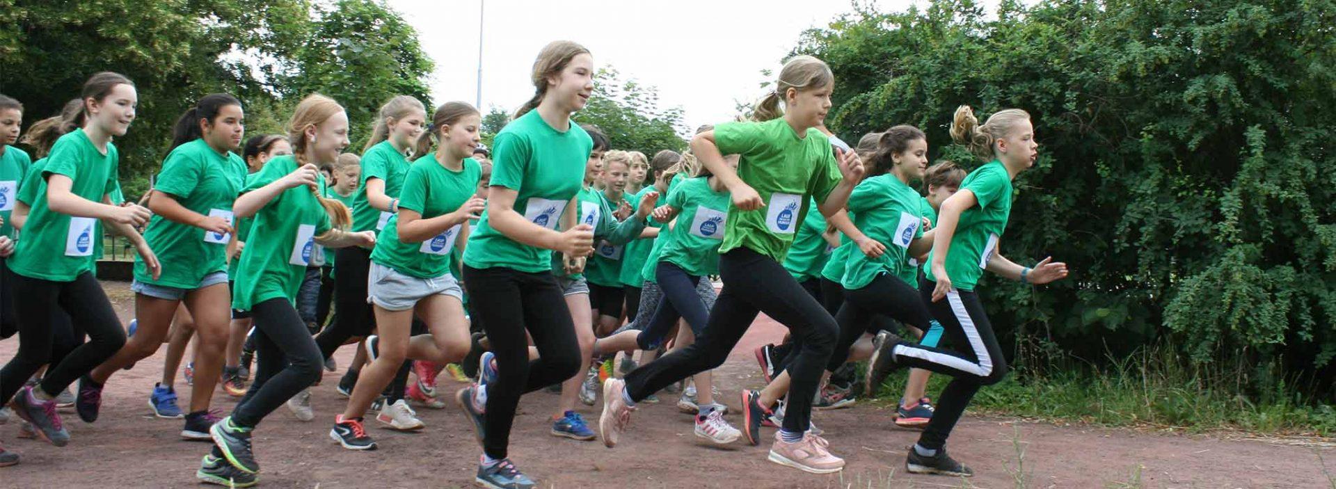 Children take part in the Run Against Hunger challenge