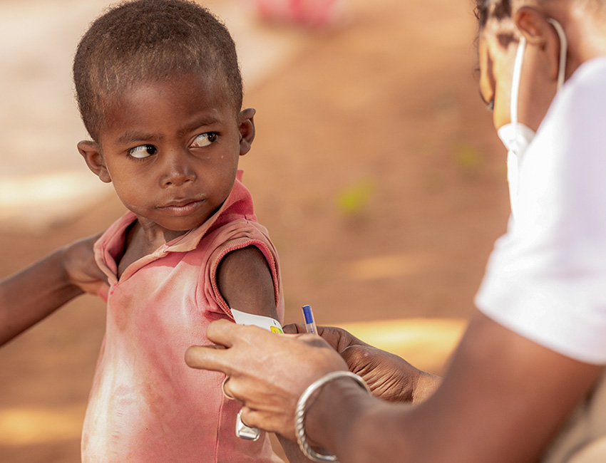A boy is screened for malnutrition at an Action Against Hunger treatment centre in Madagascar.