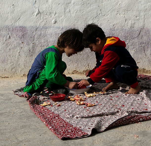 Two children playing in Afghanistan.