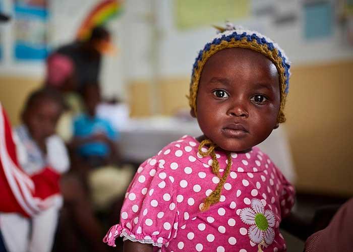 A child child receiving malnutrition treatment in Haiti.