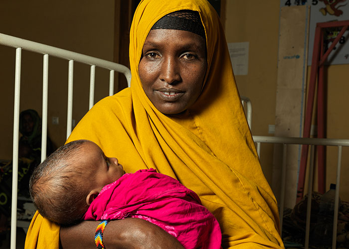Safiya and her daughter Fardosa at a treatment centre run by Action Against Hunger in Ethiopia.